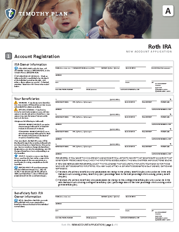 ROTH IRA new account application