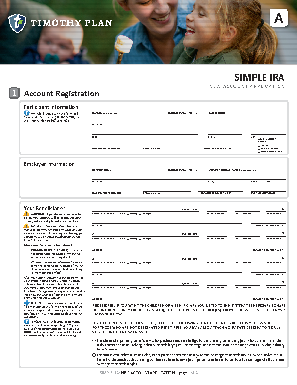 Simple IRA New account application